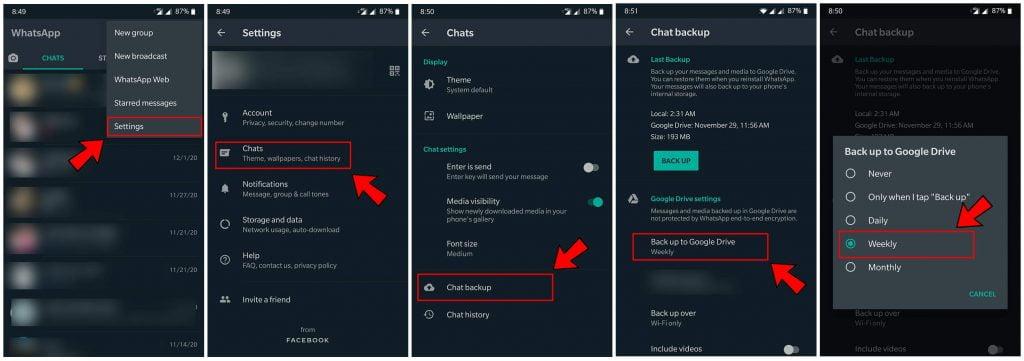 خطوات ضبط النسخة الاحتياطية لرسائل الواتس